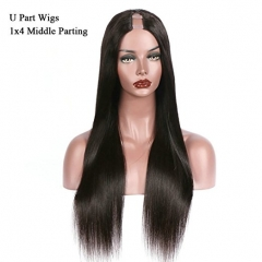 U Part Wigs Human Hair For Black Women Silky Straight Middle Part 1x4 U Parting Brazilian Remy Hair Natural Color