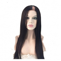 U Part Wigs Virgin Hair 130% Density Wig Silky Straight Wig Brazilian Hair For Black Women