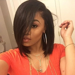 Short Bob Human Hair Wigs for Black Women Straight U Part Wig Left Part 1x4 Opening Size Brazilian Virgin Hair Natural Color