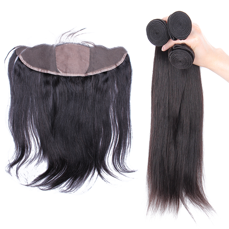 Malaysian Hair Weave Bundles With Lace Frontal Closure Silk Base