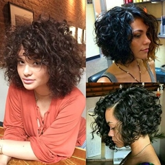 Brazilian Short Curly Bob Human Hair Lace Front Wigs with Baby Hair for Black Women Natural Color