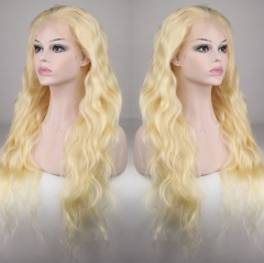 #613 Blonde 100% Brazilian Human Hair Natural Wave Lace Wig For Women With Baby Hair Pre Plucked