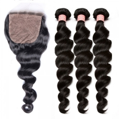 Malaysian Virgin Loose Wave Human Hair Weave Bundles With Silk Base Closure With Baby Hair
