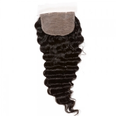 Silk Base Closure With Bundles Deep Wave 3Pcs Brazilian Hair Weave Bundles Virgin Human Hair Extension Hair Products