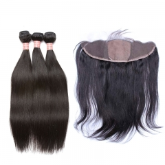Silk Base Lace Frontal Closure With Bundles Straight Virgin Brazilian Human Hair Weave Bundles Hair