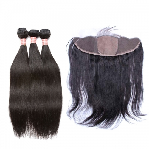 Silk Base Lace Frontal Closure With Bundles Straight Brazilian Human Hair Weave Bundles Hair