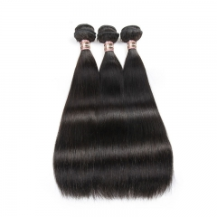 Brazilian Virgin Sliky Straight 4X4 Silk Base Lace Closure With Bundles 4 Pcs Pre Plucked With Baby Hair Natural Black