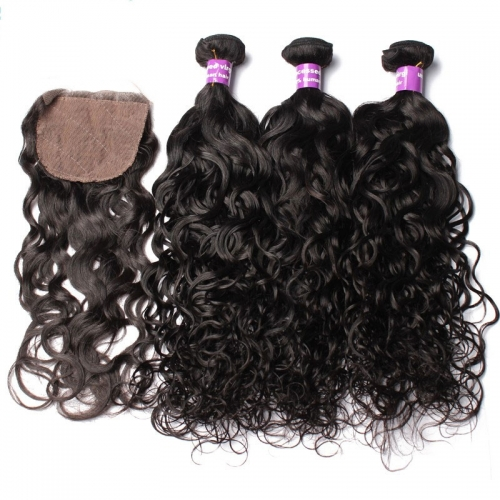 Malaysian Human Hair Bundles With Closure Natural Color Water Wave Hair Silk Based Hair Bundles With Closure