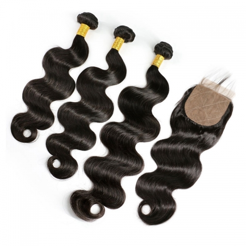 Human Hair Bundles With Closure Brazilian Remy Hair Extentions Body Wave Silk Base Closure With Baby Hair