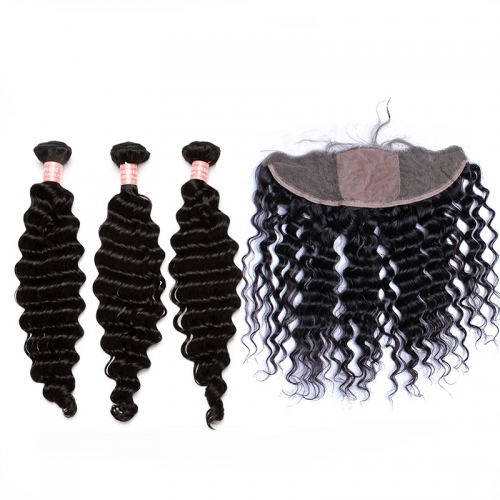 Malaysian Hair Deep Wave Human Hair Bundles 13*4 Silk Base Lace Frontal Closure With 3 Bundles