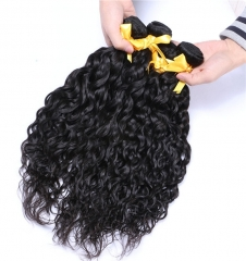 Indian Human Hair Water Wave Hair Wave bundles with 4*4 Silk Base lace Closure Natural Color Virgin Hair Extension