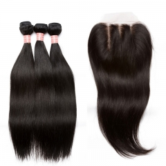 Brazilian Sliky Straight 4X4 Silk Base Lace Closure With Bundles 4 Pcs Pre Plucked With Baby Hair Natural Black