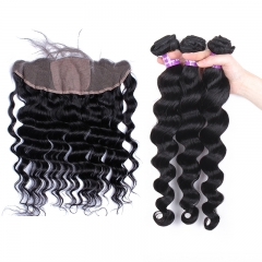 Loose Wave Bundles With Silk Base Frontal Closure Brazilian Remy Hair Weave Bundles 13x4 Silk Base Lace Frontal Closure