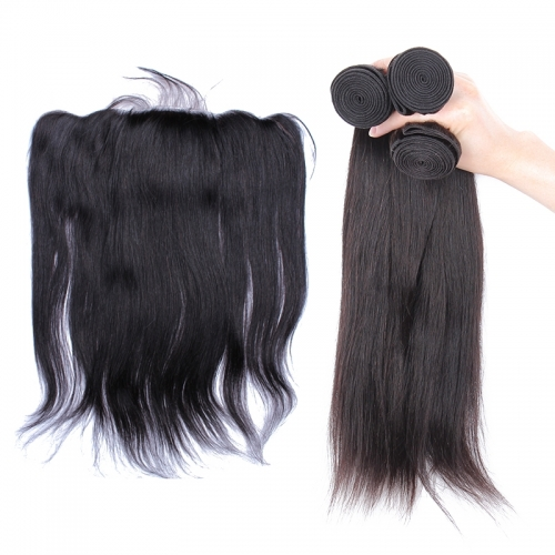 Malaysian Hair Weave Bundles With Lace Frontal Closure Silk Base Lace Frontal Closure Straight Human Hair Bundles