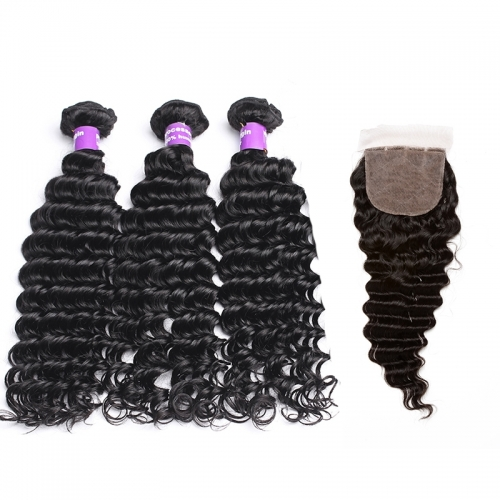 Silk Base Closure With Bundles Deep Wave 3Pcs Brazilian Hair Weave Bundles Human Hair Extension Hair Products
