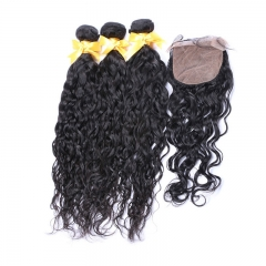 Indian Human Hair Water Wave Hair Wave bundles with 4*4 Silk Base lace Closure Natural Color Remy Hair Extension