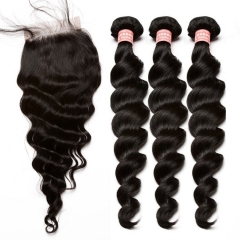 Malaysian Loose Wave Human Hair Weave Bundles With Silk Base Closure With Baby Hair