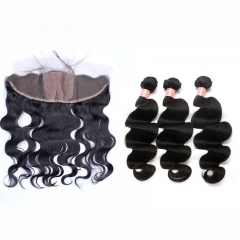 Silk Lace Frontal Closure With 3 Bundles Body Wave Brazilian Human Hair Weave Bundles With Closure