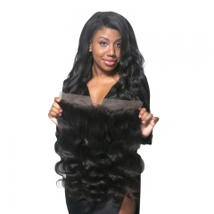 Bleached Knots Lace Frontal Closure 13X4 Brazilian Virgin Hair Body Wave Nature Color 100% Human Hair