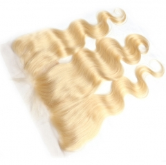 Peruvian Virgin Human Hair 613 Blonde Lace Frontal Closure Free Part Body Wave 13x4 Ear to Ear Swiss Lace Bleached Knots