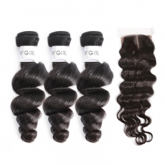 Human Hair Brazilian Wave Silk Base Closure With Bundles Human Hair Silk Top Closure Bleached Knots With Baby Hair
