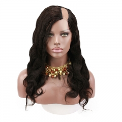 Human Hair U Part Wigs Body Wave 100% Peruvian Virgin Hair Wigs With Natural Color Full Density