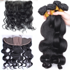 Brazilian Human Hair Body Wave 3 Bundles With 13* 4 Lace Frontal Silk Base Natural Color Hair Frontals with Natural Baby Hair