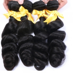 Brazilian Human Hair Loose Wave 3 Bundles With 13* 4 Lace Frontal Silk Base Natural Color Hair Frontal with Natural Baby Hair