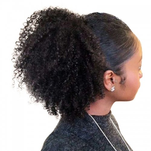 Afro Kinky Curly Ponytail For Women Natural Black Human Hair Clip In Ponytails Human Hair Extension