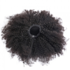 4B 4C Afro Kinky Curly Brazilian Hair Ponytails Natual Virgin Human Hair Ponytail Extensions Clip In Natural Color Hair