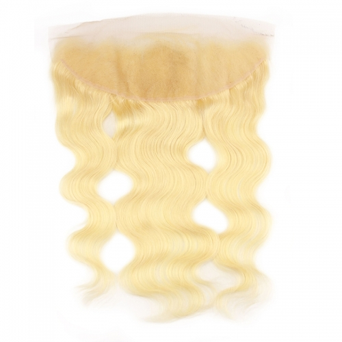 613 Blonde Lace Frontal Closure Brazilian Body Wave Hair 13x4 Closure Human Hair Bleached Knots With Natural Baby Hair