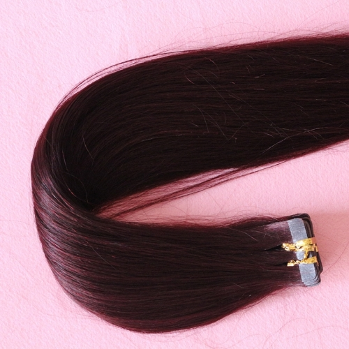 European Hair Tape In Extensions Wine Red #99J Silky Straight Hair Extensions