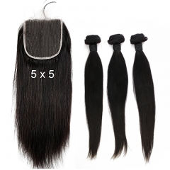 Brazilian Hair Weave 3 Bundles With Lace Closure Free Part Sliky Straight 100% Human Hair Bundles With Closure