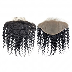Brazilian Deep Wave 13x6 Lace Frontal Closure Ear To Ear Pre Plucked With Baby Hair Viegin Human Hair Free Part