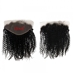 Soft Feel Hair Brazilian Curly Frontal 13x6 Ear To Ear Lace Frontal Closure 100% Virgin Human Hair Natural Color