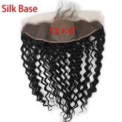 "Ear To Ear Lace Frontal Closure Silk Base Deep Wave 13""x4"" Free Part Brazilian Best Human Ha"