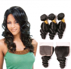Lace Closure With 4x4 Free Part  and 3 Bundles Loose Wave  Natural Color Virgin Human Hair  Unprocessed HairWeaves