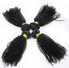 Afro Kinky Curly 100% Human Hair Bundles Peruvian Hair Weave 4 Bundles Natural Color Virgin Hair Extensions