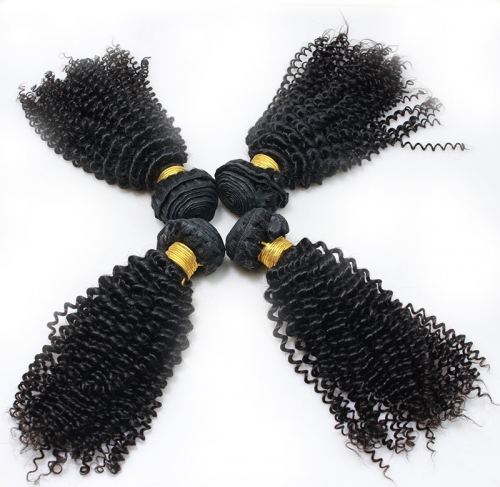 Afro Kinky Curly Human Hair Bundles Peruvian Hair Weave 4 Bundles Natural Color Remy Hair Extensions