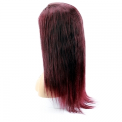 Color 99j  Brazilian Straight Human Hair Wigs with Baby Hair Lace Wig for Black Women