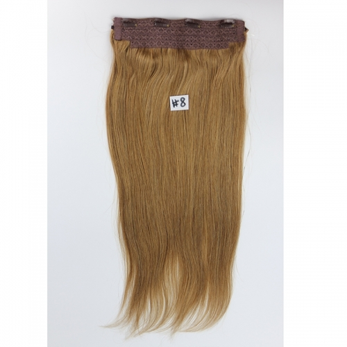 Color #8 Human Hair Flip in Hair Extension Fish Line Hair Extension