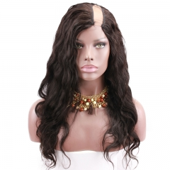 Human Hair Wigs For Black Women Body Wave 100% Brazilian Virgin Hair  U part Lace Wig 130% Density