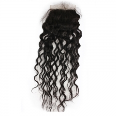 5x5 Lace Closures Curly Unprocessed Brazilian Virgin Human Hair Pieces Bleached Knots with Baby Hair Free Part for Black Women Natural Color