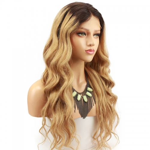 Ombre blonde #1B/27 Brazilian Wave Hair Full Lace Wigs Caps Dark root Lace front wig Bleached knot Pre plucked hairline