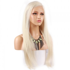 Color 60# Real Blonde Lace Front Human Hair Wigs Pre Plucked Free Part Bleached Knots Virgin Human Hair Wigs