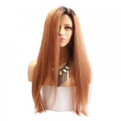 Ombre Full Lace Human Hair Wig #1BT30 Brazilian Silky Straight Human Hair Wig with Natural Baby Hair Free Part Bleached Knots