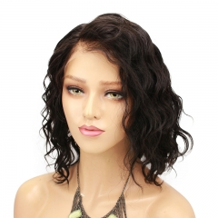 Short Bob Lace Front Pre Plucked Wavy Human Hair Wigs Side Part Virgin Human Hair Glueless Lace Wig For Women With Natural Baby Hair