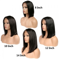 Short Lace Front Wigs Straight Virgin Natural Human Hair Bob Wig Style For Black Women Wig Bleached Knots With Natural Hairline