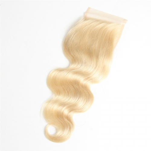 613 Blonde Lace Closure 4x4 Body Wave Brazilian Remy Human Hair with Baby Hair