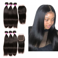 PeruvianHair 3 Bundles With Closure Unprocessed Virgin Malaysian Straight Human Hair Bundles With Lace Closure Free Part Hair Extensions